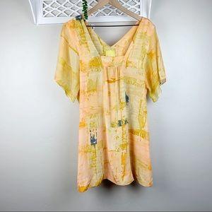 Anthro Maeve Painted Ume Silk Tunic Size 8